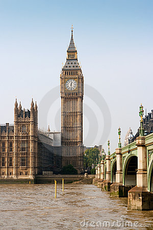 Westminster bridge and Big Ben. London, England