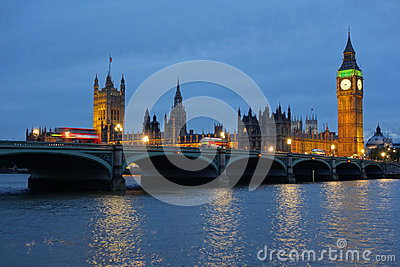 Westminster Bridge Houses of Parliament at dusk.