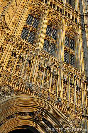 Westminster: detail van het parlementshuis, Londen