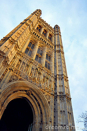 Westminster: parliament tower details, London, UK