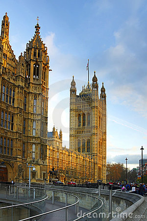 Westminster: perspectiva do parlamento, Londres Fotografia Editorial