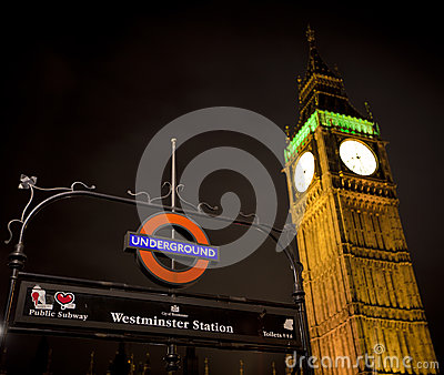 Westminster Underground Editorial Stock Image