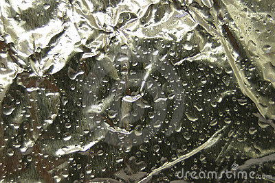 Wet Aluminum Foil With Water for Background