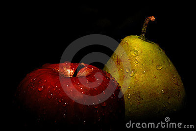 Wet apple and pear