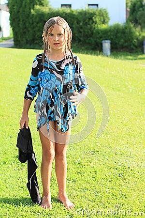 Wet barefoot girl