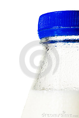 Wet bottle of milk, macro shot