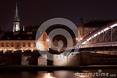 Wet bridge in rainy night in Krakow, Poland