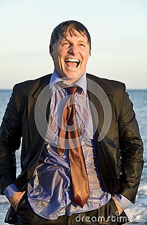Wet businessman