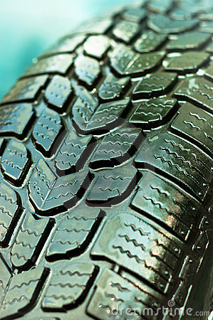 Wet car tire