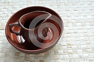 Wet clay pot in basin