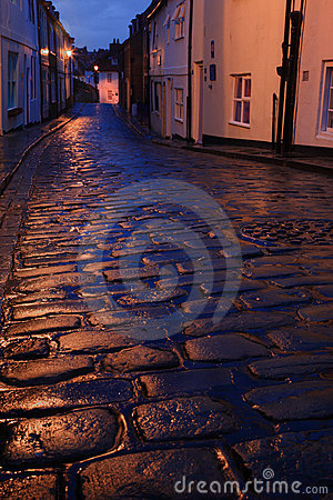Wet cobbles of Whitby