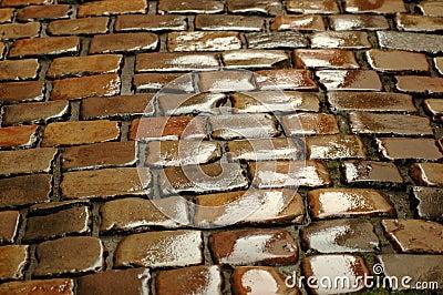 Wet cobblestone. Background.