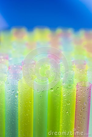 Wet colorful straws for juice