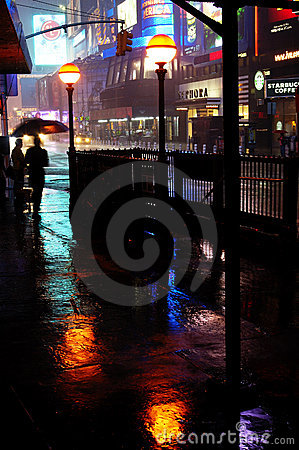 Wet day at Time Square Editorial Stock Image
