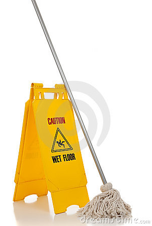 Free Wet Floor Sign And Mop On White Background Stock Images - 11170094