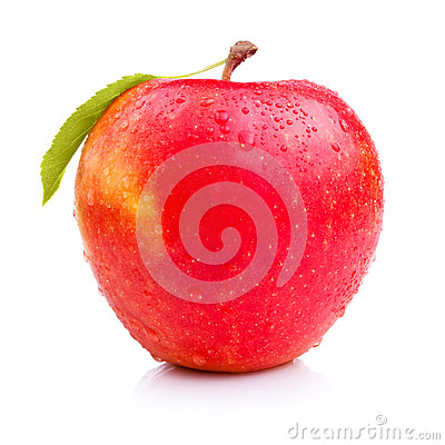 Wet fresh red apple with leaf