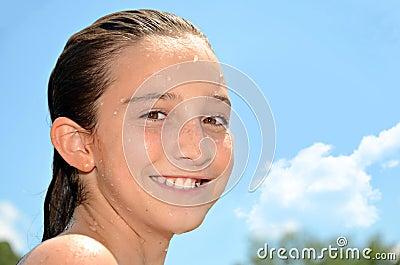 Wet Girl Smiling