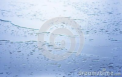 Wet glass surface