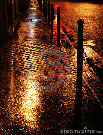 Wet golden street