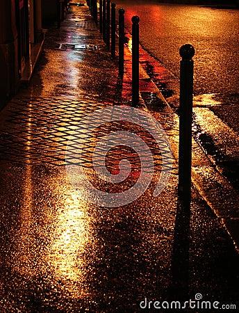 Free Wet Golden Street In Paris Royalty Free Stock Image - 4907146