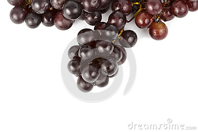 Wet grapes  on white