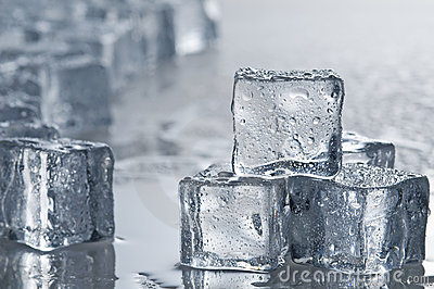 Wet ice cubes objects