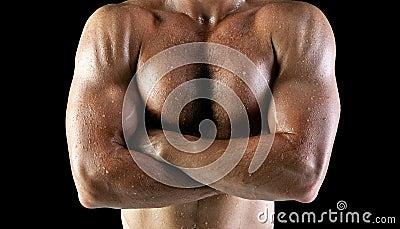 Wet man body