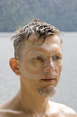 Wet mature man portrait