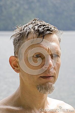 Wet mature man portrait