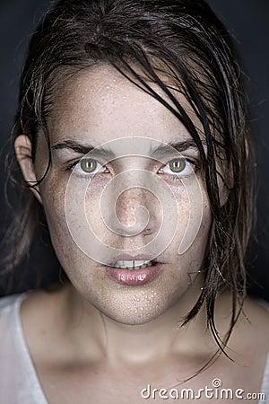 Wet model face