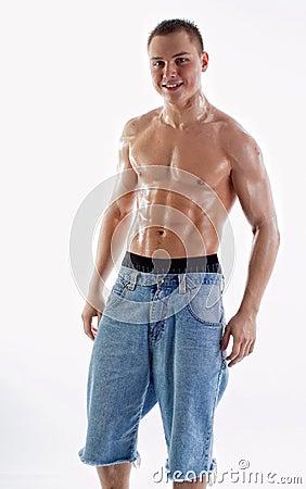 Wet Muscular Man Torso