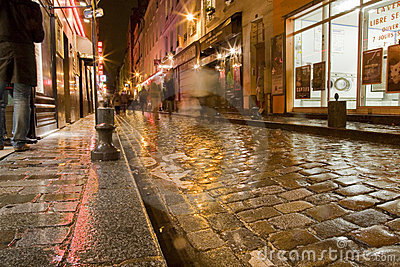 Wet Paris Street Editorial Photography