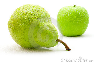 Wet pear and apple
