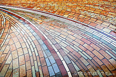 Wet pied brick pavement