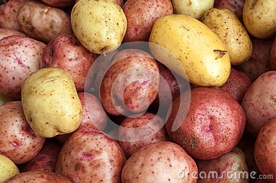 Wet raw potatoes