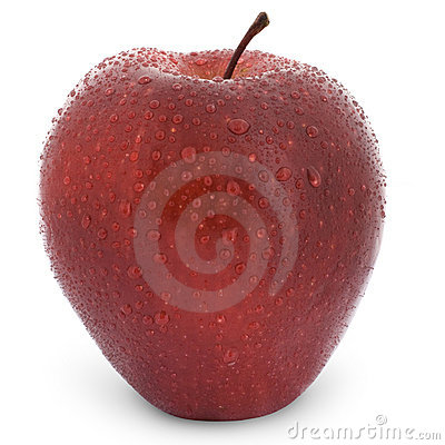 Wet red apple