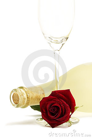 Wet red rose with a dull prosecco bottle and a emp