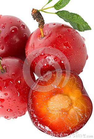 Wet ripe plums