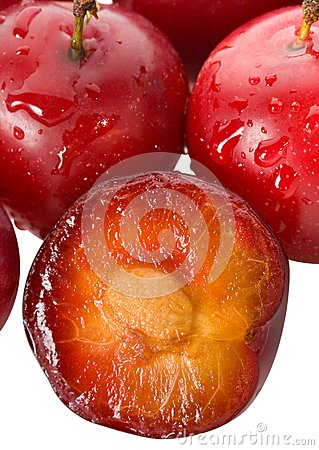 Wet ripe plums