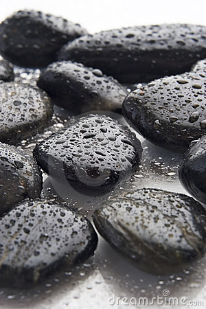 Wet river rocks