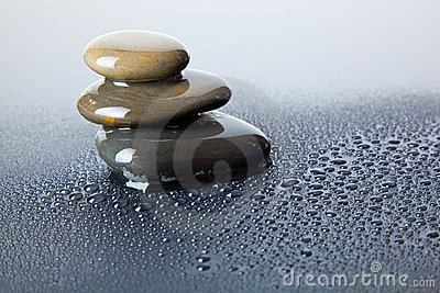 Wet river stones