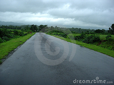 Wet road in countryside