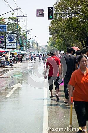 Wet road on Songkran Festival Editorial Image