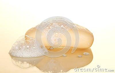 Wet soap with foam