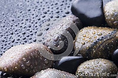 Wet stones.