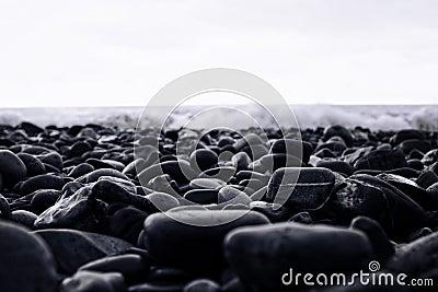 Wet stones on the beach