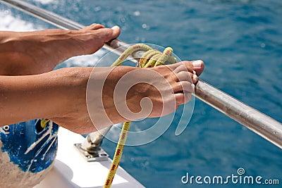 Wet  sunburned feet