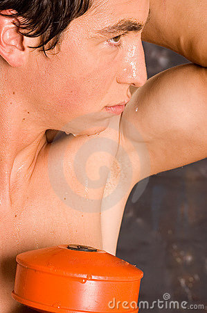 Wet sweaty bodybuilder