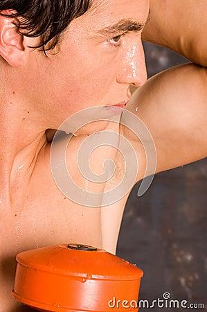 Wet sweaty bodybuilder