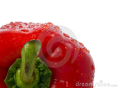Wet sweet pepper close-up